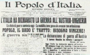 La notizia della dichiarazione di guerra del nostro Paese, riportata dal quotidiano il Popolo d'Italia.