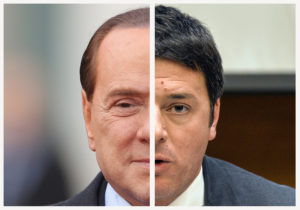 Silvio Berlusconi e Matteo Renzi, due decisionisti a confronto (Photo by: courtesy of Getty Images and Politico).
